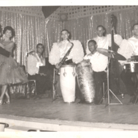Willie Nelson, Joe Canura, Victor Allende, Ralph Mesa, and Phil Newsum performing at unidentified hotel in Spring Valley, New York