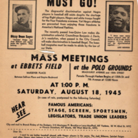 Campaign to End Jim Crow in Baseball: Flier: Jim Crow in Baseball Must Go!